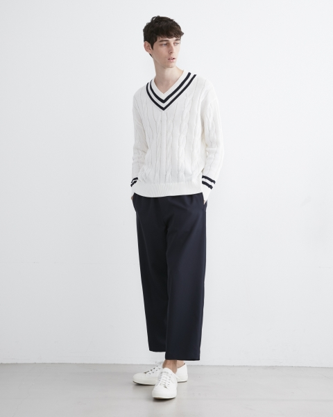 【UNISEX】RIB TILDEN V-NECK KNIT